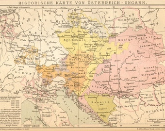 1905 Original Antique Historical Map of Austria-Hungary