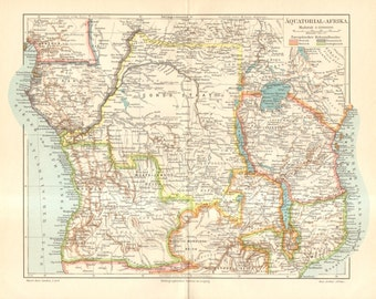 1893 Original Antique Dated Map of Equatorial Africa at the End of the 19th Century