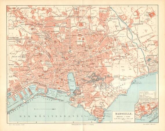 1896 Original Antique City Map of Marseille, France