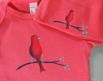 Spring time baby Organic Cotton Baby Bodysuit Hand Painted on American Apparel, Red Bird, Bird Watchers, Baby Clothes, Baby Shower