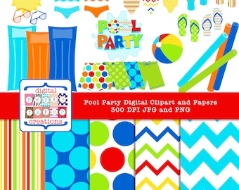 Pool Toys Swimsuit Summer Clipart - Digital Paper Pack and Digital Graphic Art - INSTANT DOWNLOAD