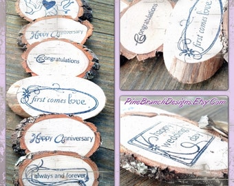 Natural Wood Hand-stamped Woodland Branch Gift Tokens Rustic Favors Gift Basket 40  tree bark  Green
