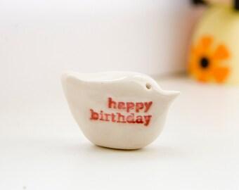 Happy birthday gift bird miniature ceramic keepsake messenger bird sculpture