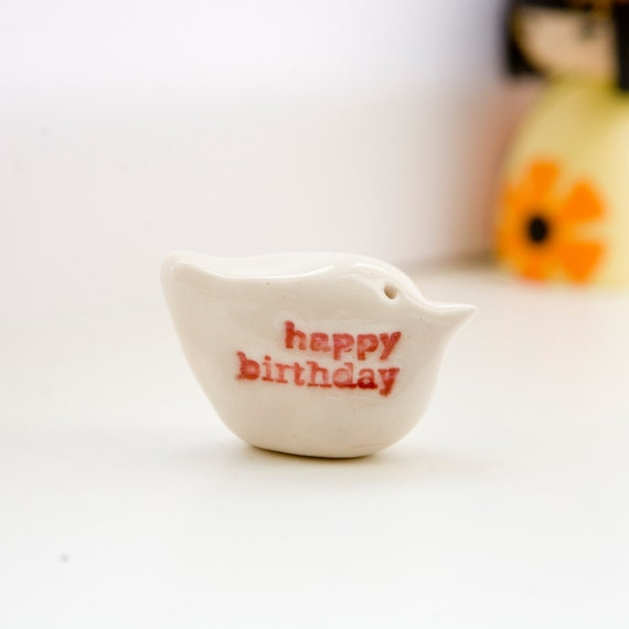 Happy birthday gift bird miniature ceramic keepsake messenger bird sculpture