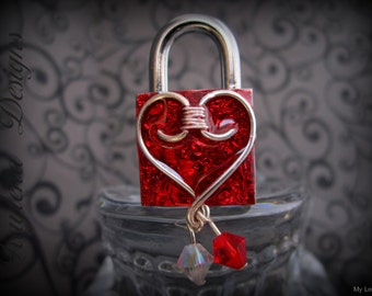 Choker Lock, Embellished  Padlock, Lock and Key, Mini  Lock, BDSM Lock, Birthstone Lock