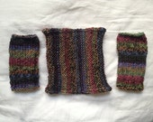 Matching Cowl and Fingerless Gloves - Dark Mixed Colors