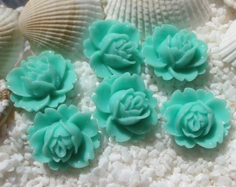 Resin Flower Cabochon - 17mm x 19mm - 12 pcs -  Turquoise