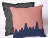Chicago Skyline Pillow, Red, Navy Blue Silhouette14x14 Includes insert