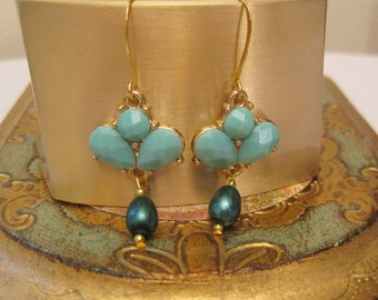 Teal Blue Dangle Drop  Earrings  Fashion Jewelry  Trendy and Chic