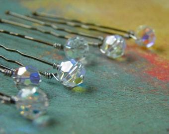 6 Swarovski 8mm Crystals Clear AB Hair Pins