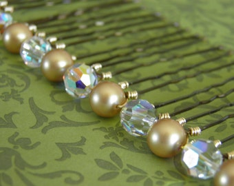 12 Swarovski 8mm Vintage Gold Pearls and Crystals AB Hair Pins