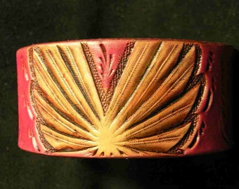 Pink tooled leather cuff , Pink , leather , cuff , lovepink