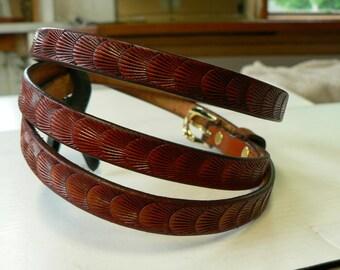 "Thin British tan leather belt   , womens thin leather belt , British tan belt , 35 1/2"" long by 1/2"" wide strap , womens belt , thin strap"