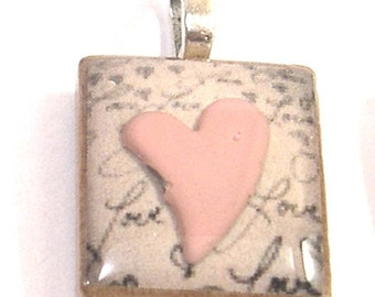 Pink Love Heart Scrabble Pendant