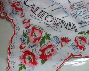 California Hankie Printed Handkerchief State of California Souvenir Nevada Poppies
