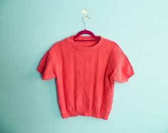 Vintage fuchsia pink top blouse / knit sweater / crop cropped / short sleeves / small medium