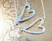 Great Bridesmaids gifts  Rhinestones with  Swarovski Crystal Dangle on Silver or Gold Plated Chain Necklace