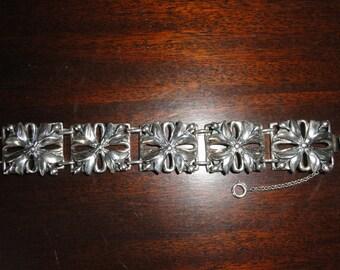 Calvaire Extremly Rare Sterling Flower Panel Bracelet