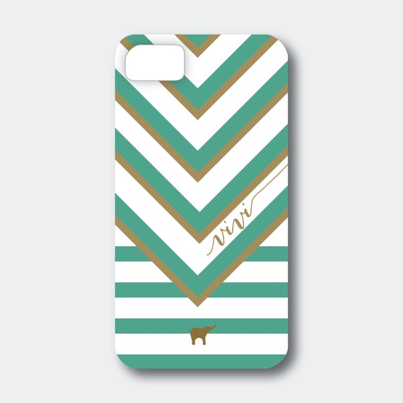 "Personalized iPhone, Samsung Galaxy, or Blackberry Case - Vivi Collection - ""V"" Stripes shown in Emerald and Gold"