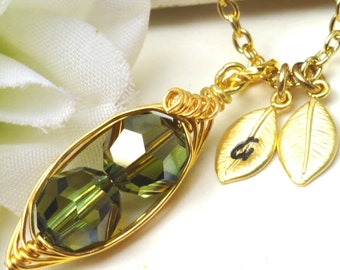 Personalized Swarovski Crystal Peas In A Pod Necklace - Peridot Bronze Shade  -  Gold or Silver -  Choose Your Initials -  LIMITED EDITION