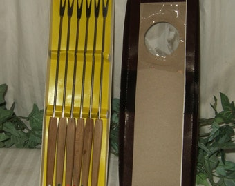Vintage Danish fondue forks in box Stainless Fondue forks with wooden handles made in Japan original box