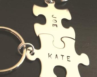 Boyfriend Gift, Puzzle key chains,  love key chains, his and hers key chains, custom key chains, puzzle