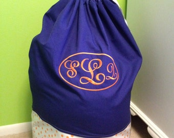 Royal Blue with Orange Polka Dots and 3 Letter Oval Monogram Laundry Bag - Sleep Over Bag Great Gift for University of Florida Students