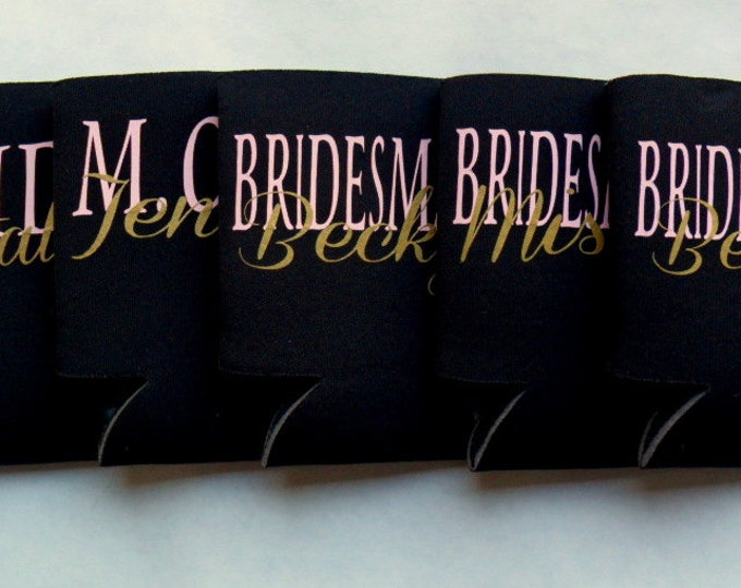 Personalized Bridal Party Can Cooler Set of 5 You Choose The Colors