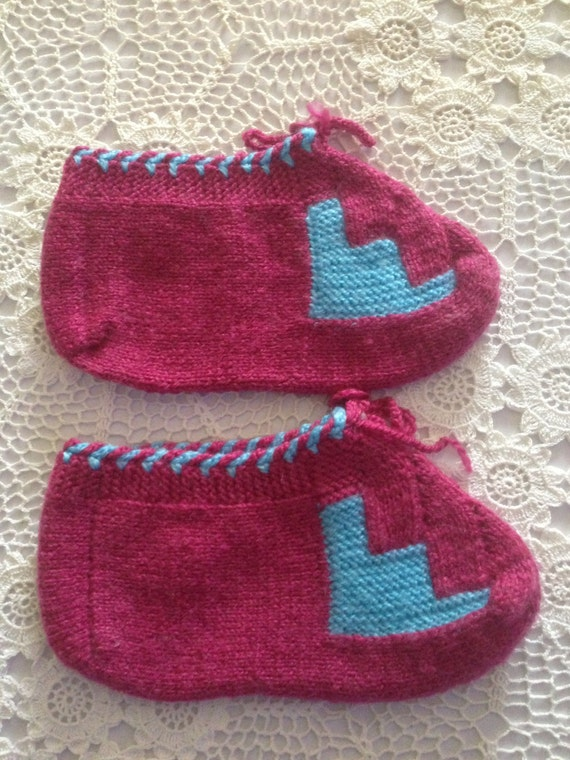 Knitting Pattern For Turkish Slippers : Hand Made Turkish Knitted Slippers by AnatolianCollections on Etsy