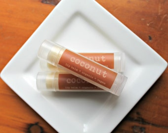 VACATION SALE  Coconut Lip Balm  .15oz Tube Organic and Vegan Lip Balm