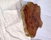 Teak Live Edge Coffee Table with Gold Leaf & Metallic Glaze, Raw Edge, Furniture, End Table