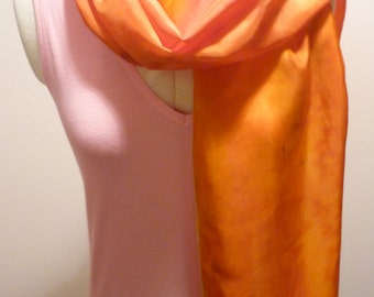 Handpainted Silk Scarf in Autumn Colours by The Silk Maid