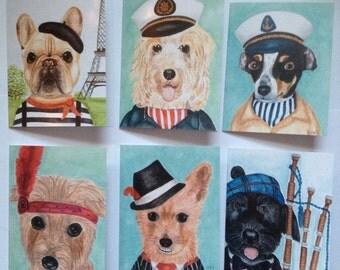 Dog Lover Note Card Pet Art Stationary set of 6