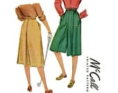 1940s Culottes Pattern McCall 6768 Waist 26 Womens Vintage Sewing Pattern Misses Divided Skirt Split Skirt 1940s Sport Skirt Flared Skirt