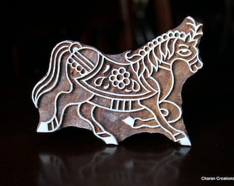 Hand Carved Indian Wood Textile Stamp Block- Trotting  Horse