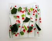 Holly Berry Fused Glass Dish