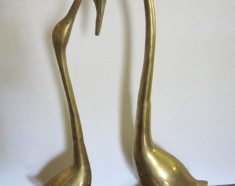 """Vintage Large Brass """"Love Swans"""". Perfect Wedding/Anniversary Gift, Romantic Couple, Sweethearts"""