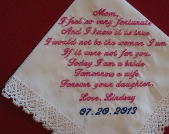 Mother of the Bride Handkerchief --Corner design with Wedding date, White with Chrochet Border includes gift box