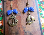 Sailor Girl. Sailboat & Anchor Earrings With Navy Blue Bow.