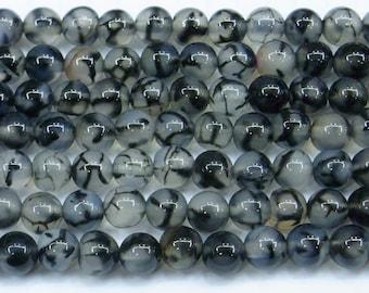 4mm Round Agate Beads Cracked Grey 6446 15''L Natural Genuine Semiprecious Gemstone Bead Wholesale Beads