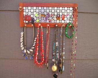 paduak horizontal jewelry organizer - silver unionjack screen - earring holder - sustainably harvested Asian hardwood