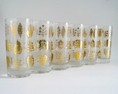 Mid-Century Gold Leaf Tumblers - Drinking Glasses - Set of 6