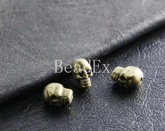 20pcs / Skull / Spacer  / Antique Brass Tone / Base Metal / 10x7mm  (Y1795//B17)