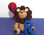 Custom Made Clay Lion Cake / Cupcake Topper with Letter