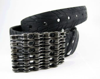 Recycled Bike Chain Belt Buckle- Curved- Clear Finish