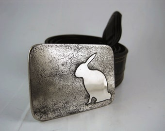 Bunny Rabbit Belt Buckle - Etched Stainless Steel - Handmade
