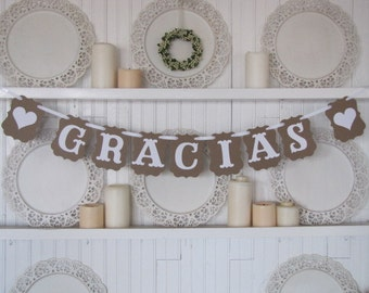 GRACIAS Banner, Thank You Banner, Spanish Thank You, Wedding Sign, Wedding Decor
