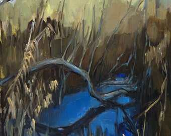 Landscape Painting - Clear Blue Sky Reflected - original oil painting - Florida landscape - Everglades
