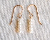 Five Petit Pearls In A Line Gold Filled Earrings