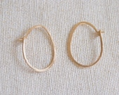 Small Oval Hoop Earrings, Egg shaped - Gold Filled, Silver, Rose Gold Filled